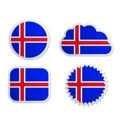Iceland flag labels vector image