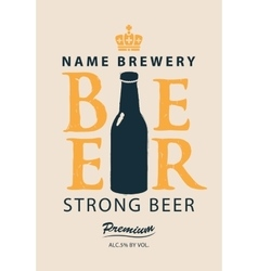 label beer with a bottle vector image