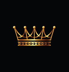 Crown gold symbol icon on black background vector