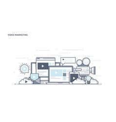 Flat line design header - video marketing vector
