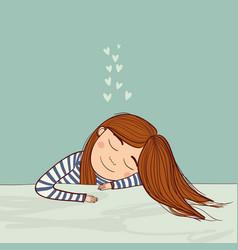girl dreaming in love marine vector image