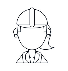 woman work helmet thin line vector image