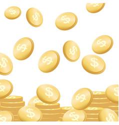 coins falling flying golden money concept vector image