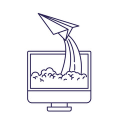 Purple line contour of lcd monitor and paper plane vector