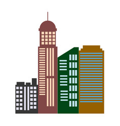 Modern cityscape composition with many storeyed vector