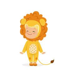 Cute happy little boy dressed as a lion cub kids vector
