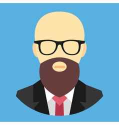 Bald man with beard and glasses icon vector