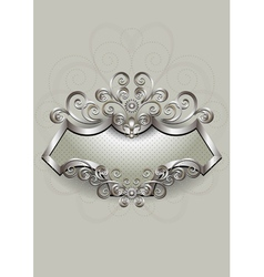 Silver pattern with heraldry and spirals on a silv vector
