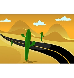Desert road background vector