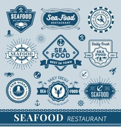 Set of seafood restaurant logo banner design vector