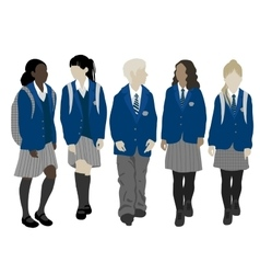 Group of walking students vector