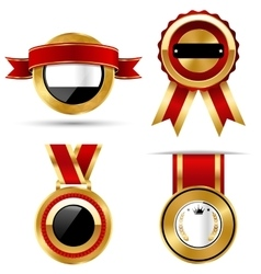 Golden red black premium quality best labels vector