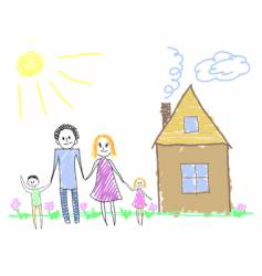Happy family near the house vector