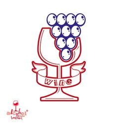 Winery theme stylized empty wineglass with vector
