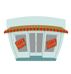 Storefront super discount great discount window vector