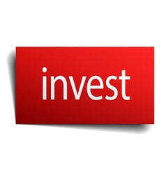 Invest red square isolated paper sign on white vector