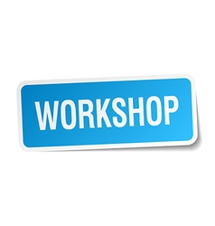 Workshop blue square sticker isolated on white vector