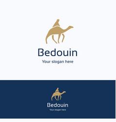 Bedouin on camel logo vector