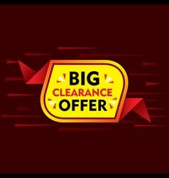 big clearance offer banner or poster design vector image vector image