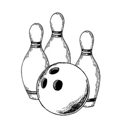 bowling engraving vector image vector image