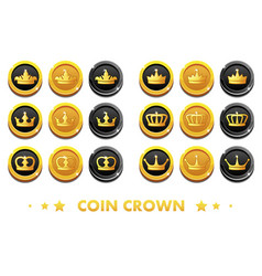 cartoon gold and black coins with the emblem crown vector image vector image
