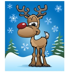Christmas Holiday Red Nose Reindeer vector image