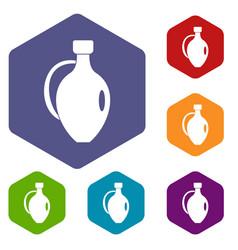Clay jug icons set hexagon vector