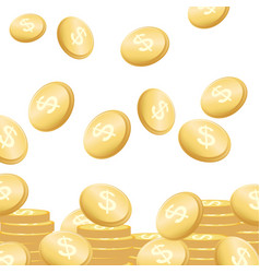 Coins falling flying golden money concept vector
