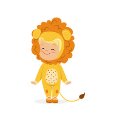 cute happy little boy dressed as a lion cub kids vector image vector image