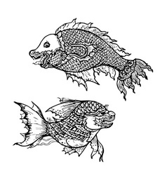 Drawing of fish thai traditional art vector image