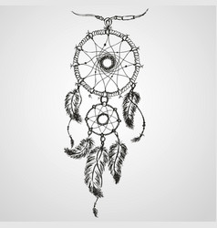 dreamcatcher feathers and beads vector image vector image