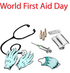 first aid day vector image vector image