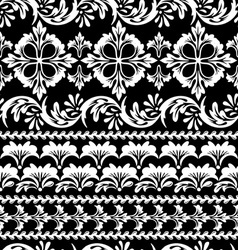Floral black seamless vector