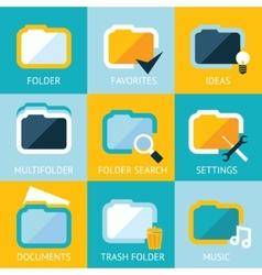 Folder icons set favorites settings music ideas vector
