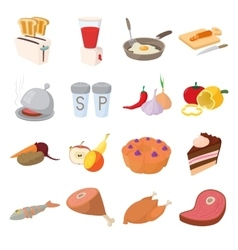 Food icons set cartoon style vector image