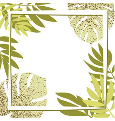 Green tropical leaves with frame vector