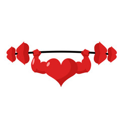 Heart strong love powerful sport barbell kiss vector
