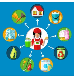 Housemaid cleaning service concept vector