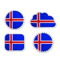 Iceland flag labels vector image vector image