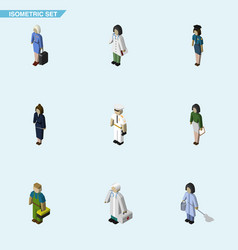 Isometric person set of housemaid hostess vector