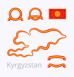 Kyrgyzstan - outline map and ribbons vector