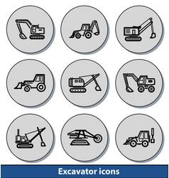 light excavator icons vector image