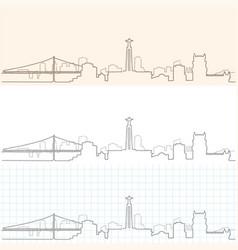 Lisbon hand drawn skyline vector