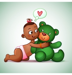 Little Indian girl hugging teddy bear green She vector image vector image