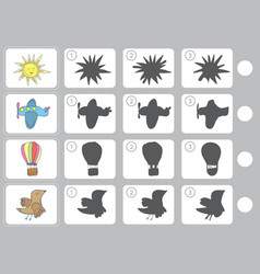 match shadow - worksheet for education vector image vector image