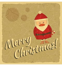 Merry Christmas retro card with Santa Claus vector image vector image