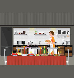 mom woman cooking in kitchen preparing food for vector image vector image