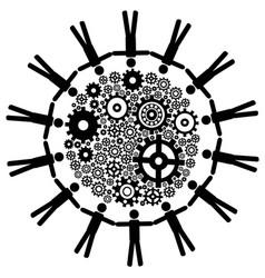 People around gears background vector