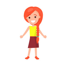 Redhead girl with braid isolated vector