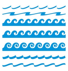 Set of blue water waves icon vector